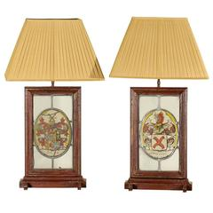 English Armorial Window Panes Created into Lamps