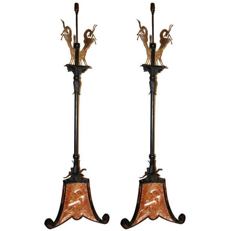 pair of arts and crafts copper and iron floor lamps at 1stdibs. Black Bedroom Furniture Sets. Home Design Ideas