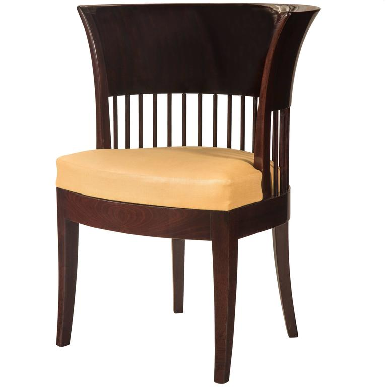 Unusual Danish Jugendstil Mahogany Chair