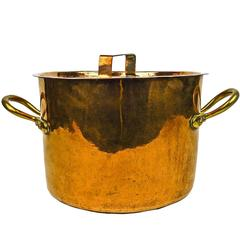 Large English Copper Two-Handled Pot, circa 1875