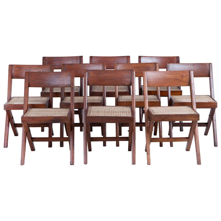 Pierre Jeanneret Library / Dining Chairs (10 Available) For Sale