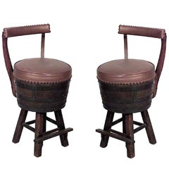 Pair of Rustic Old Hickory Oak Barrel Design Swivel Chairs