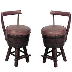 Pair of 20th Century Rustic Old Hickory Oak Barrel Design Swivel Chairs
