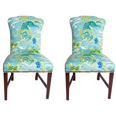Pair of George III Side Chairs in Brunschwig and Fils Fabric