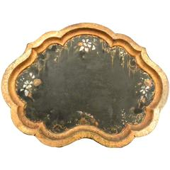 Italian Gilt and Painted Tole Shaped Tray