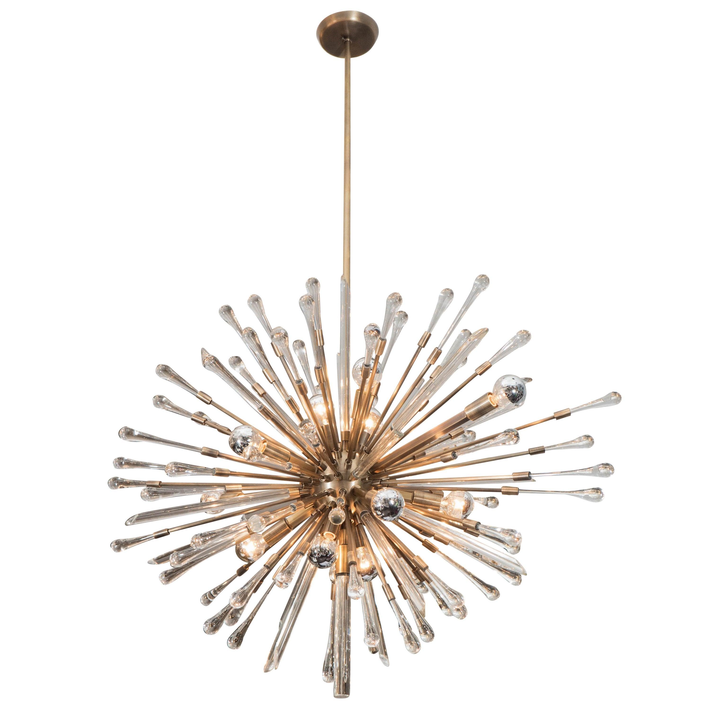 Beautifully Detailed Custom Glass Teardrop Oval Sputnik Chandelier