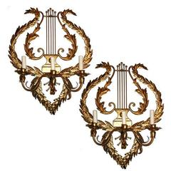 Large Lyre Shaped Sconces