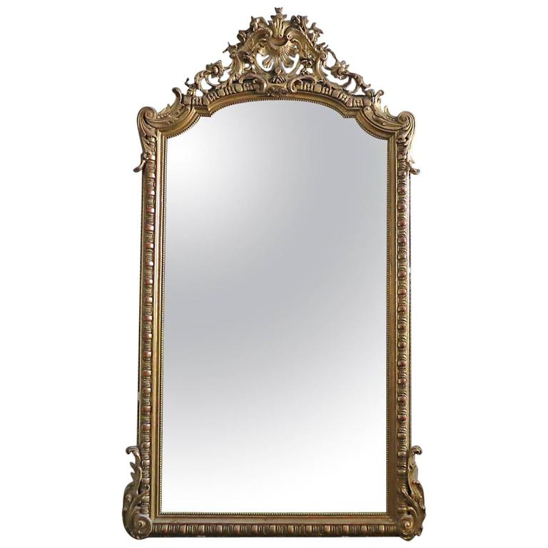 8b9195b8b Large Antique French Gold Gilt Mirror at 1stdibs