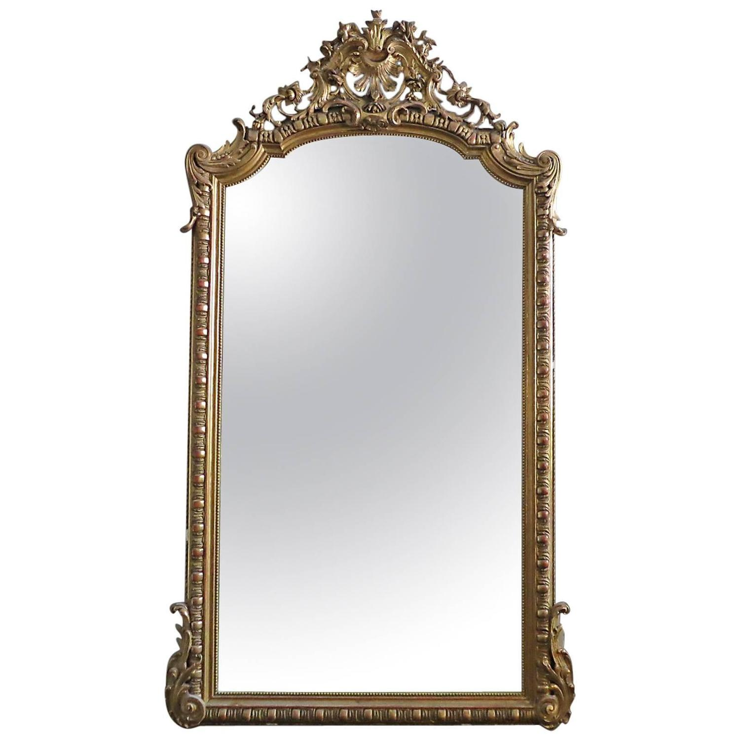 Large antique french gold gilt mirror for sale at 1stdibs for Large portrait mirror