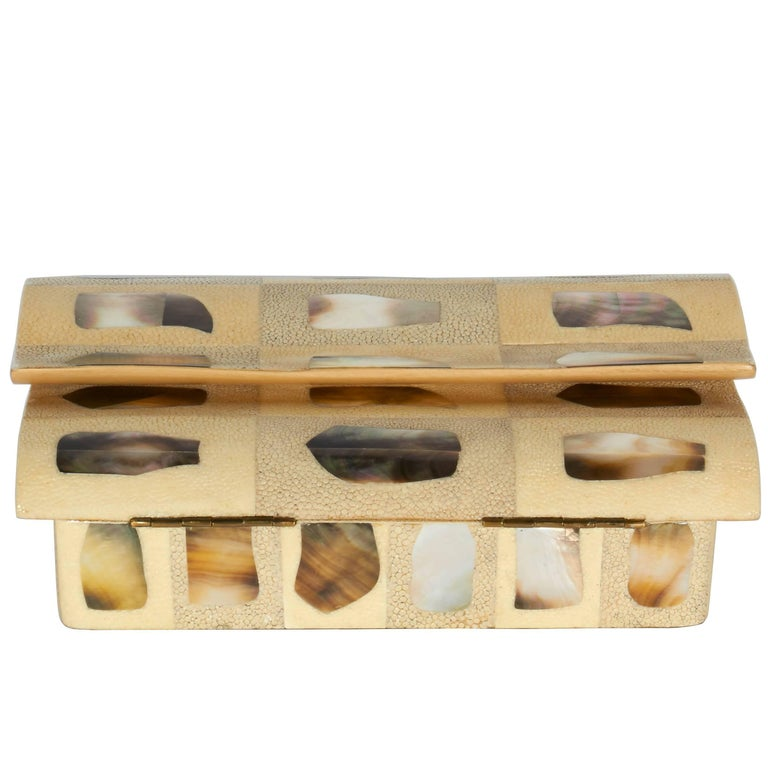Vintage Shagreen Patchwork Box with Mother-of-Pearl Inlays