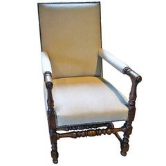 Vintage Upholstered Renaissance-Style Chair, circa 19th Century