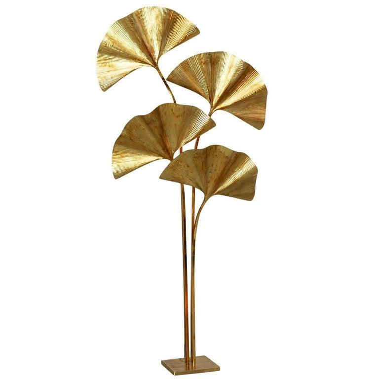 Huge Four Ginkgo Leaf Brass Floor Lamp by Tommaso Barbi