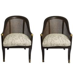 Pair of Cane Chairs with Menton Leopard Fabric