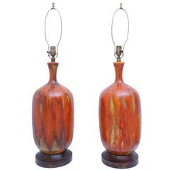 Pair of Orange Glazed Table Lamps
