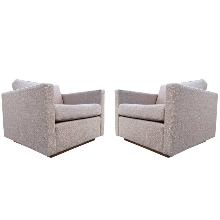 Pair of Harvey Probber Cube Lounge Chairs on Walnut Plinth Bases 1