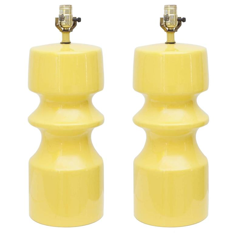 Pair of Vintage Yellow Ceramic Table Lamps