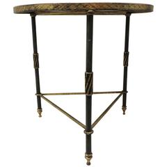 CLOSE OUT SALE: Black & Gold Round Hollywood Regency Iron Side Table