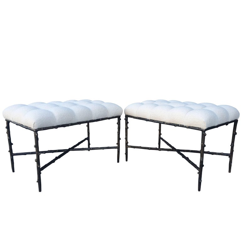Solid Bronze Benches with Tufted Seats, Limited Edition of 200, Numbers 1 and 2 For Sale