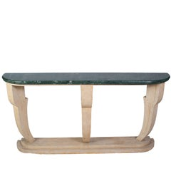 Art Deco Console Table with a Green Marble Top