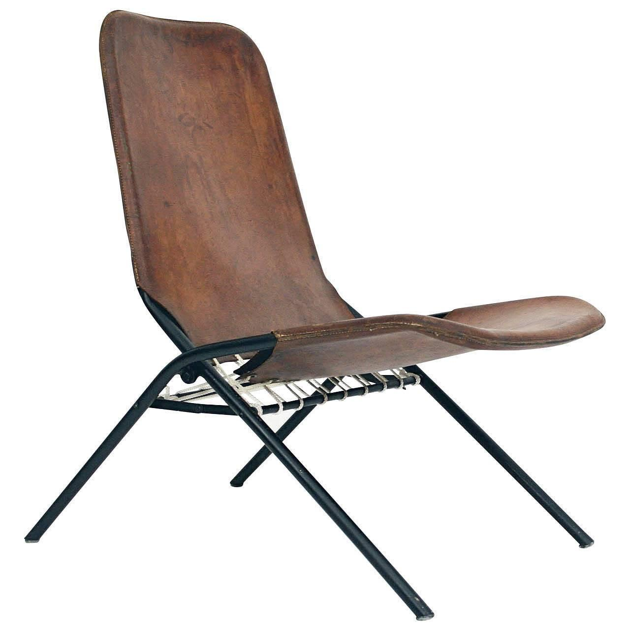 Rare Olof Pira Leather Folding Chair For Sale at 1stdibs