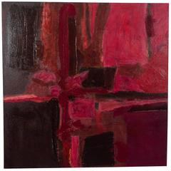Abstract Expressionist Painting in Tones of Red