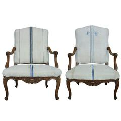 Pair of French Regency Style Walnut Armchairs
