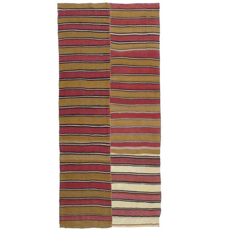 Banded Kilim Runner in Two Panels