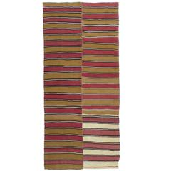 Banded Kilim Runner Rug in Two Panels