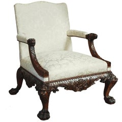 Georgian Style Superbly Carved Mahogany Open Armchair
