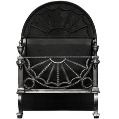 Polished Cast Iron Fireplace Grate with Rams Heads