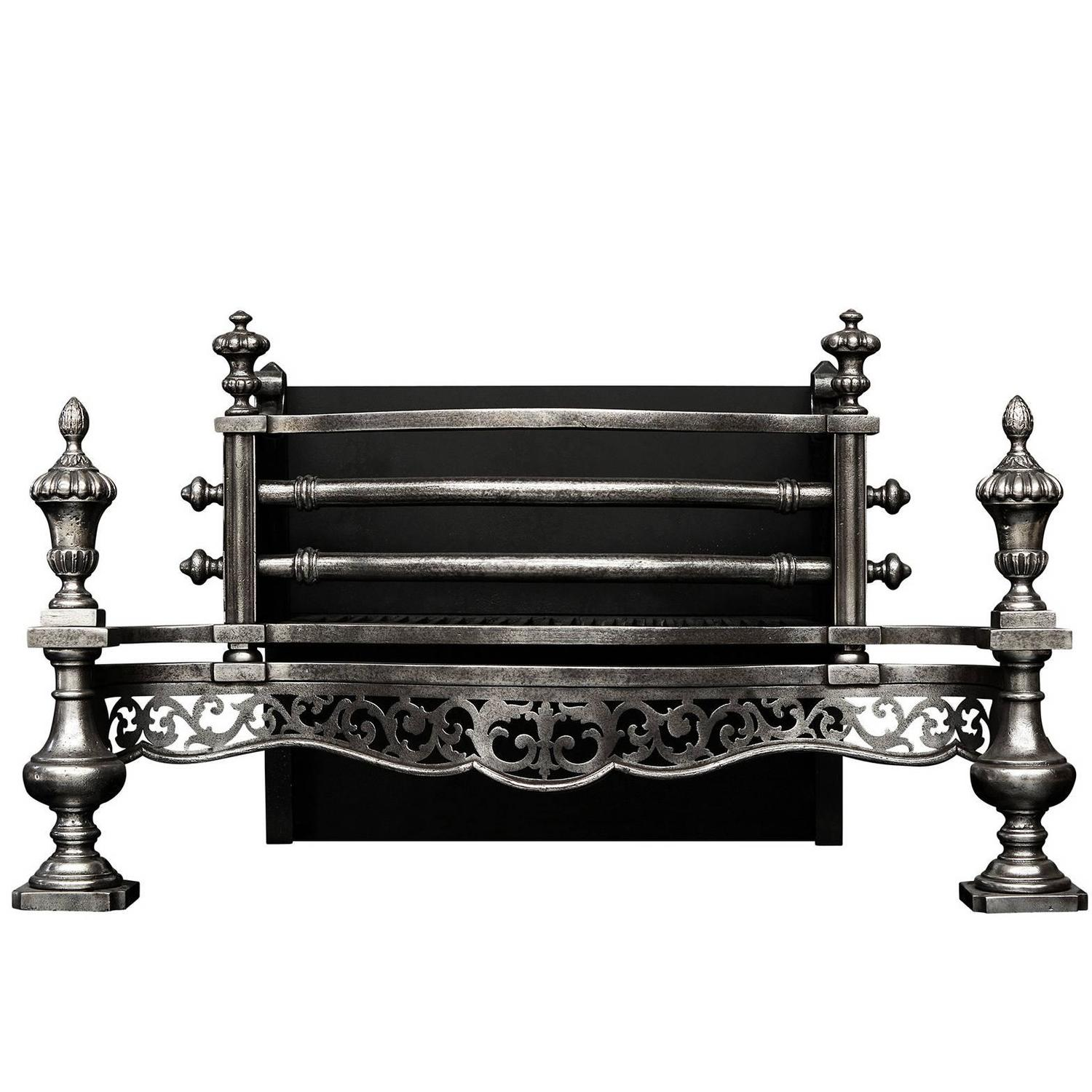English Polished Steel Fireplace Grate For Sale At 1stdibs