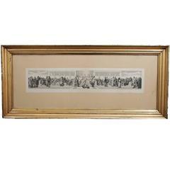 European Print in Reeded Water Gilded Frame