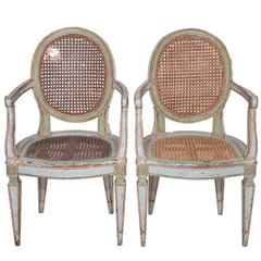 Pair of 18c Italian Louis XVI Caned Fauteuils
