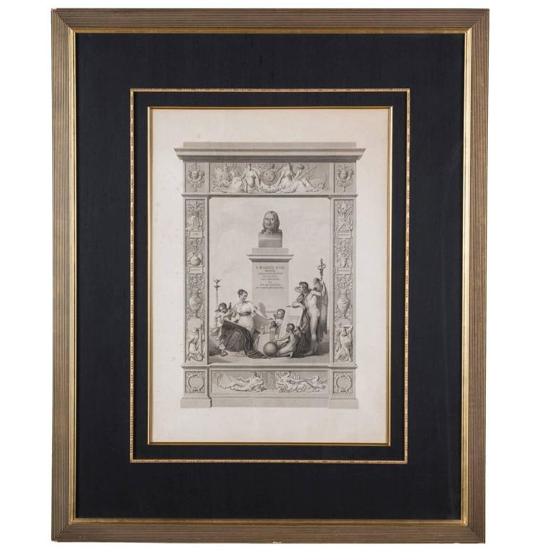 19th century large framed neoclassical lithograph at 1stdibs for Where to buy framed art