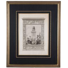 19th Century Large Framed Neoclassical Lithograph