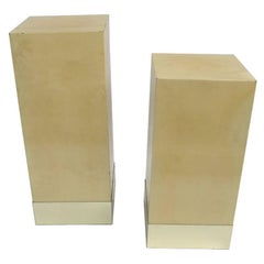 Pair of column side tables in parchment by Aldo Tura, Italy, circa 1980
