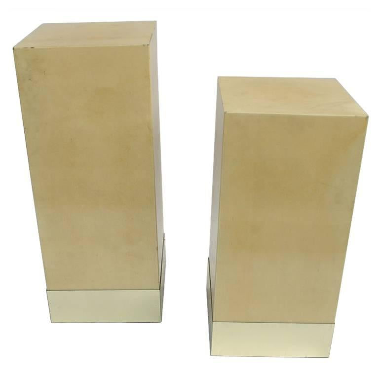 Pair of column side tables in parchment by Aldo Tura, Italy, circa 1980 For Sale