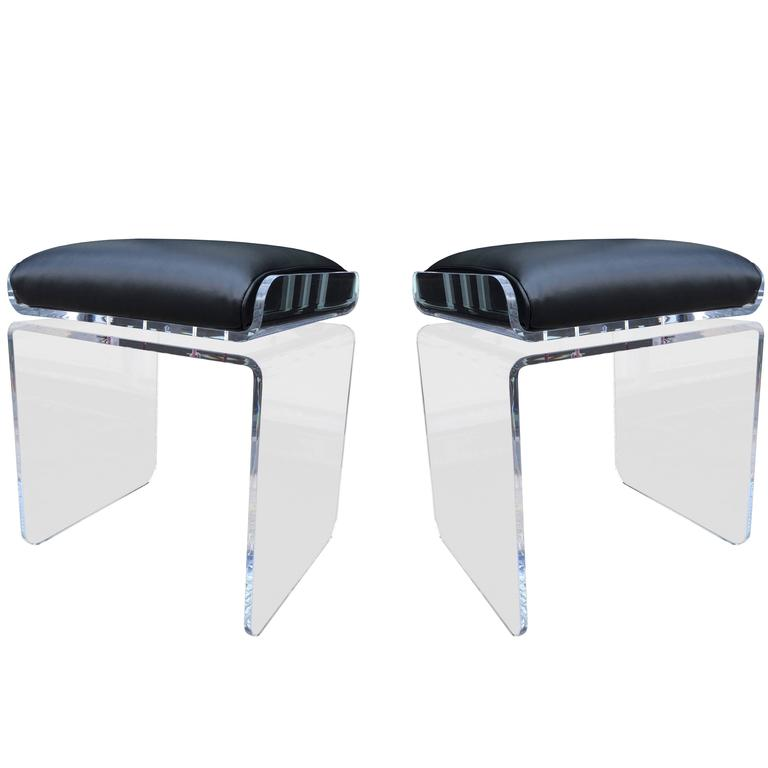 "Pair of Swivel Benches by Charles Hollis Jones from the ""Waterfall"" Line"