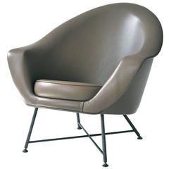 Petite French Leather Lounge Chair