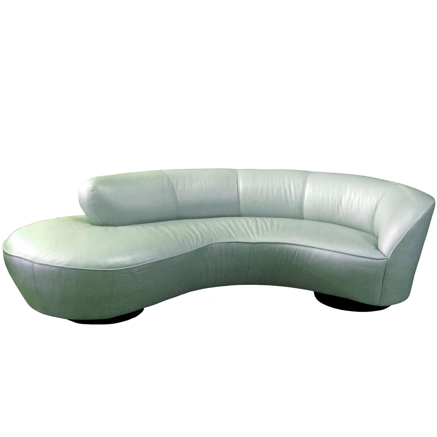 Beau Vladimir Kagan Serpentine Sofa And Ottoman Upholstered In Edelman Leather  For Sale At 1stdibs