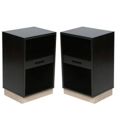 Pair of Edward Wormley for Dunbar Nightstands with Leather Bases