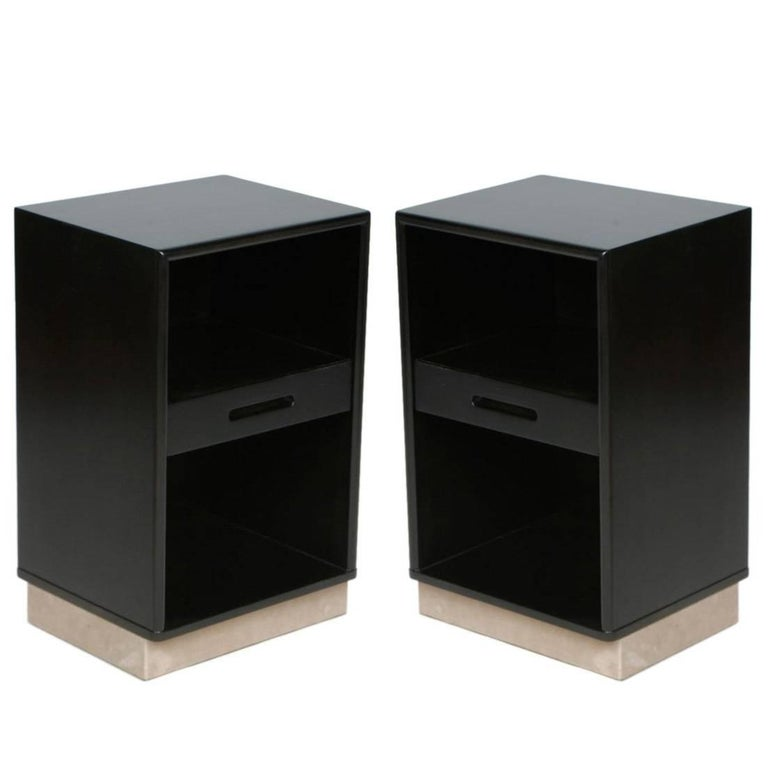 Pair of Edward Wormley for Dunbar Nightstands with Leather Bases For Sale