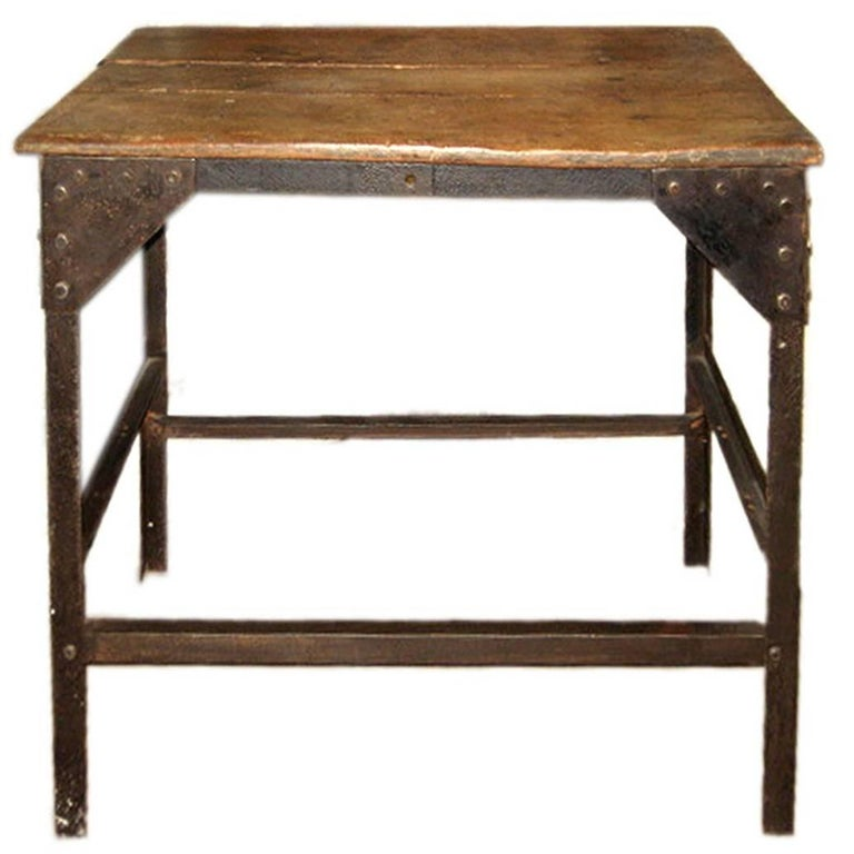 Vintage Wooden Side Table with Metal Base, Belgium, c. 1920 For Sale