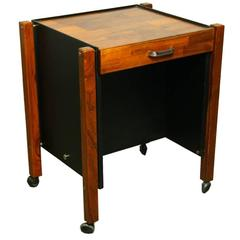Single Rolling Side Table in Rosewood by Jorge Zalszupin for L'Atelier