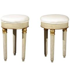 Pair of Italian Round Painted and Upholstered Stools with Three Legs, circa 1800