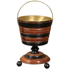 English 19th Century Wooden Peat Bucket with Brass Lining and Loop Handle