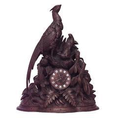 19th Century Continental Rustic Black Forest Walnut Avian Themed Mantel Clock