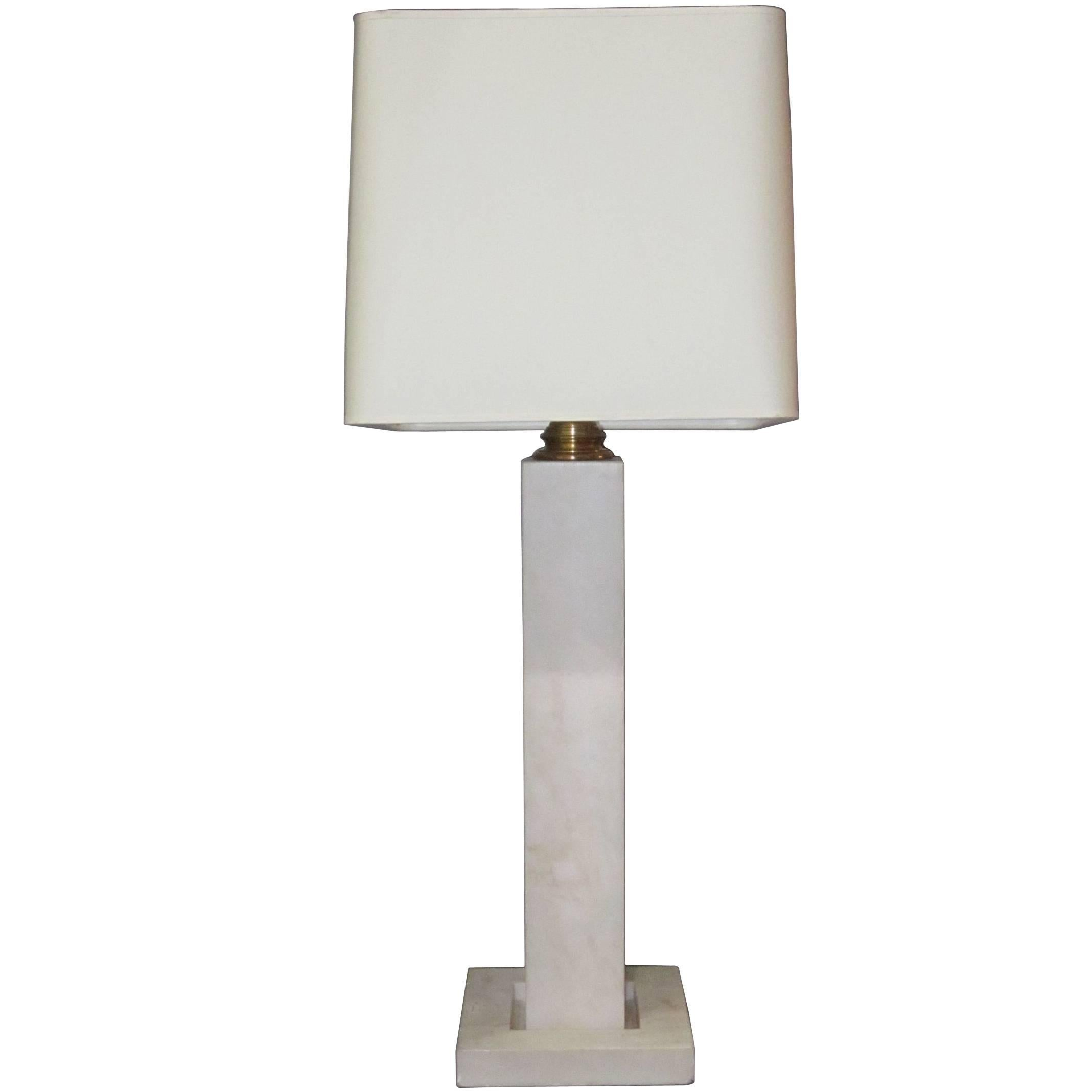 Mid Century Tall White Marble Table Lamp By Yann Vlug Belgium At