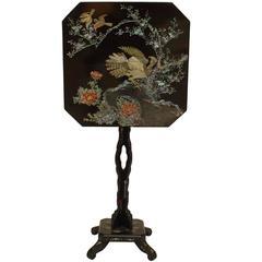 Pair of 19th Century English Pearl Inlaid Papier Mâché Tilt-Top End Tables