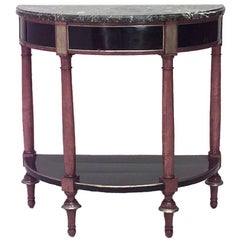 Continental Neo-Classic Fruitwood Marble Console Table